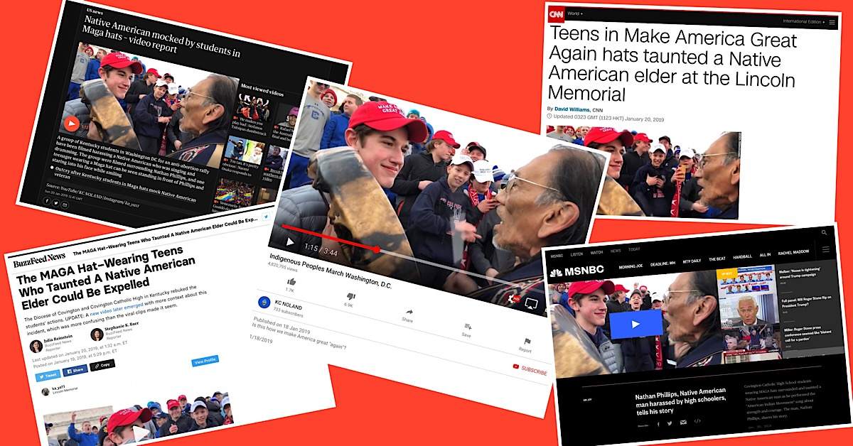 Screenshots of some of the original news coverage and videos from the Covington kids story.