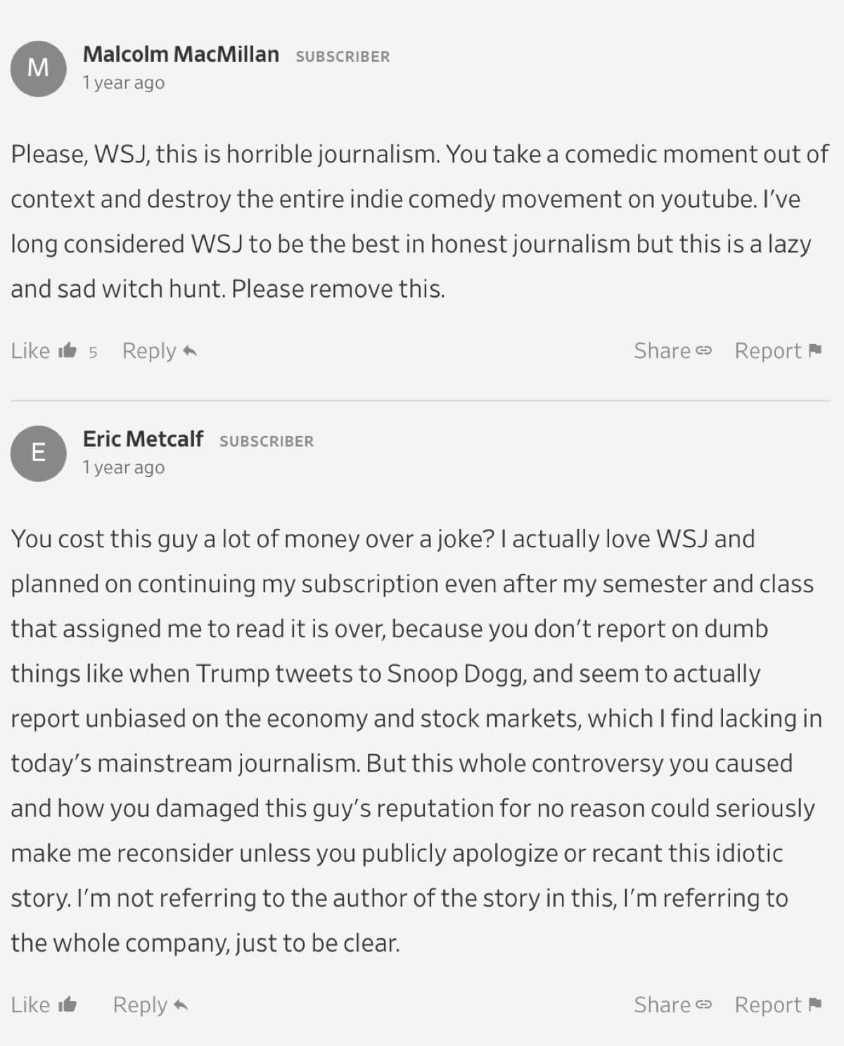 A critical comment on The Wall Street Journal's article about PewDiePie.