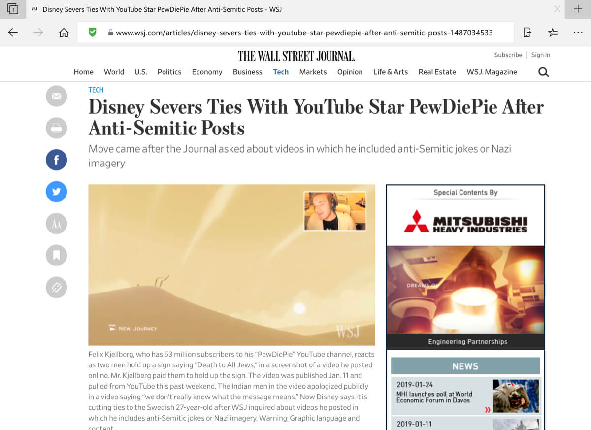 A screenshot of a post from The Wall Street Journal in the Microsoft Edge iOS browser with NewsGuard enabled.