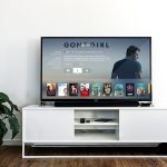 A Sony smart TV on a stand.