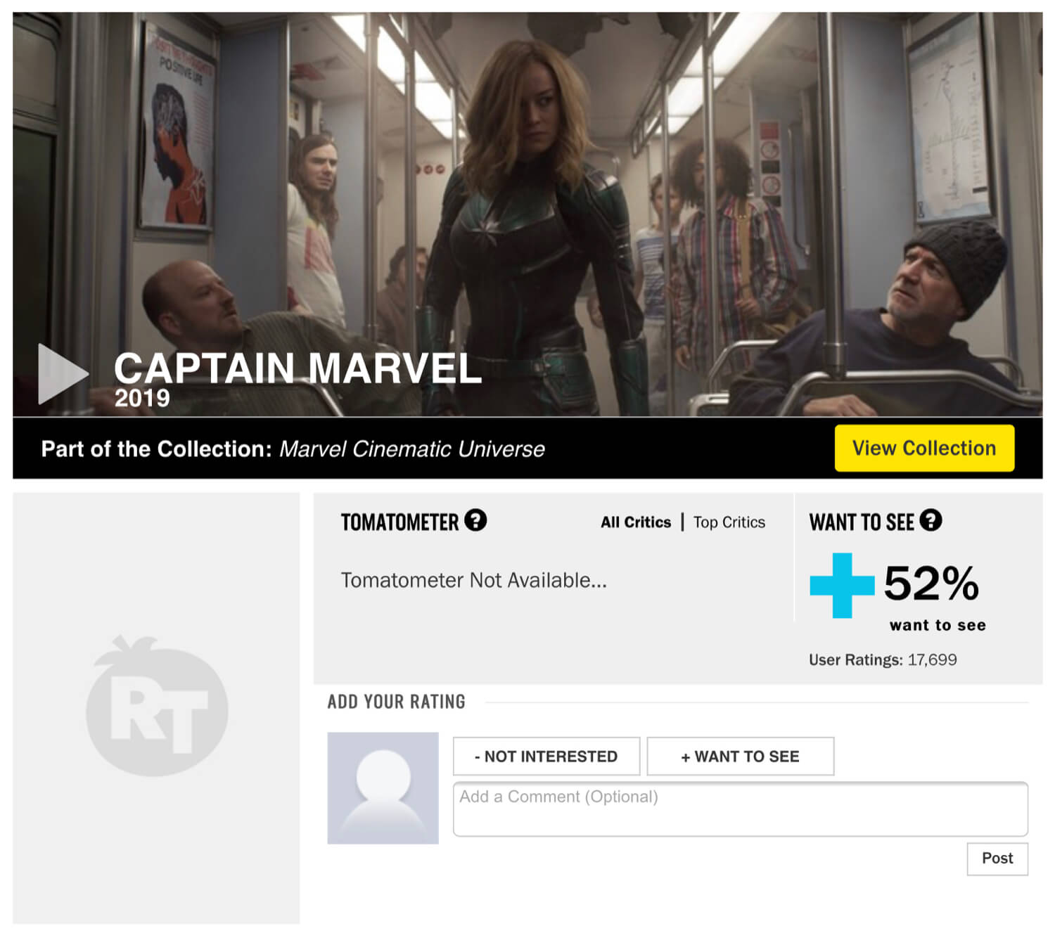 "The Captain Marvel Rotten Tomatoes page with a ""Want to See"" score before the changes to the Audience Rating System."