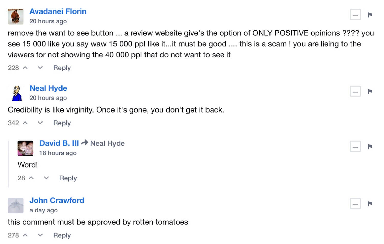 Replies to Rotten Tomatoes' Announcement on the Changes to Its Audience Rating System.