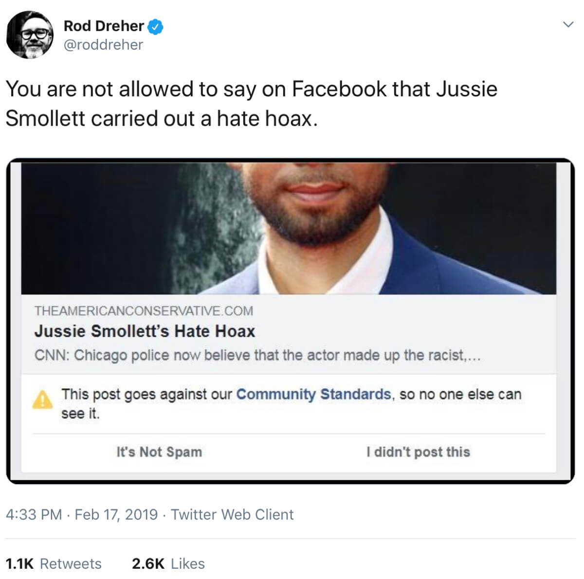 Rod Dreher's tweet about links to his Jussie Smollet article being blacklisted.
