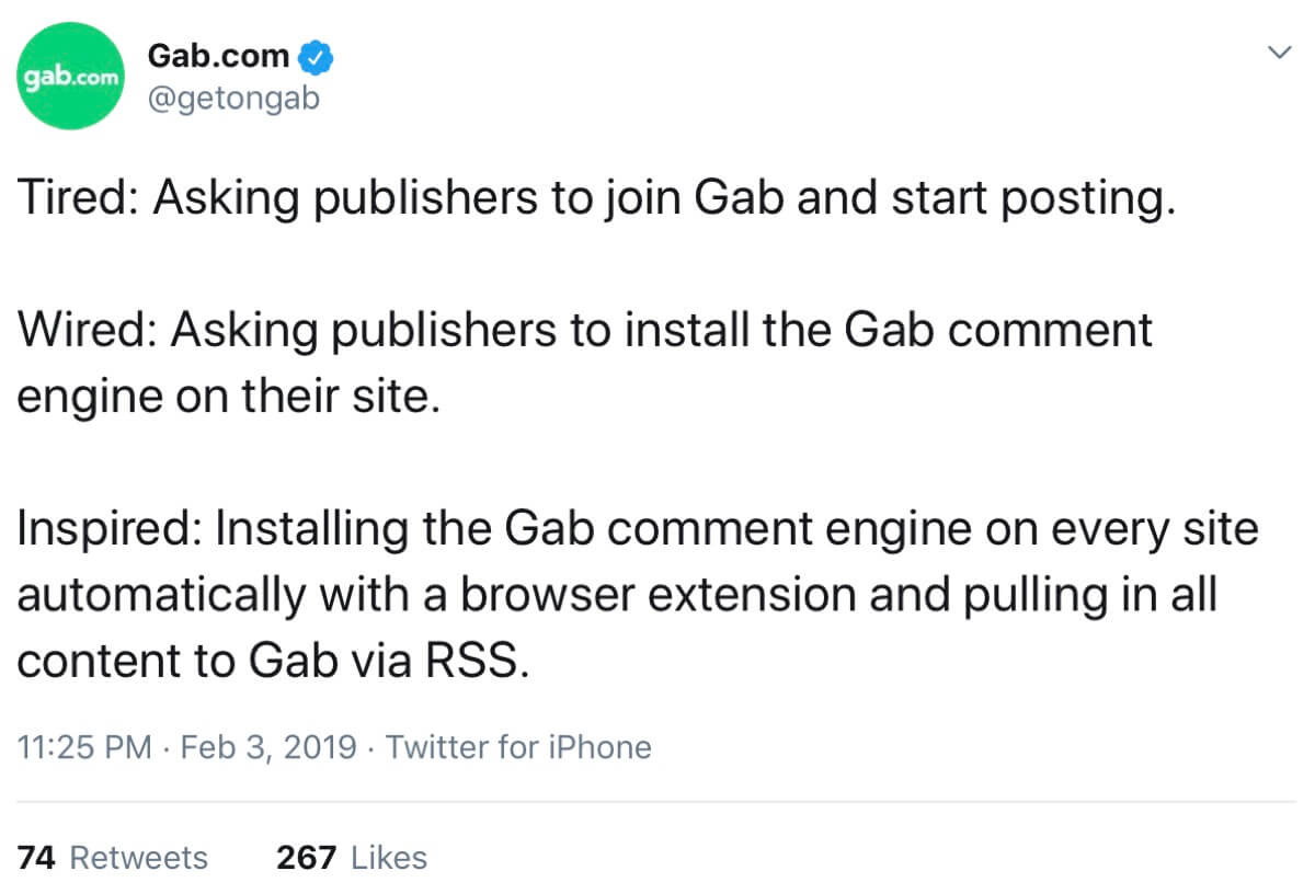 A screenshot of the Gab Share extension homepage.