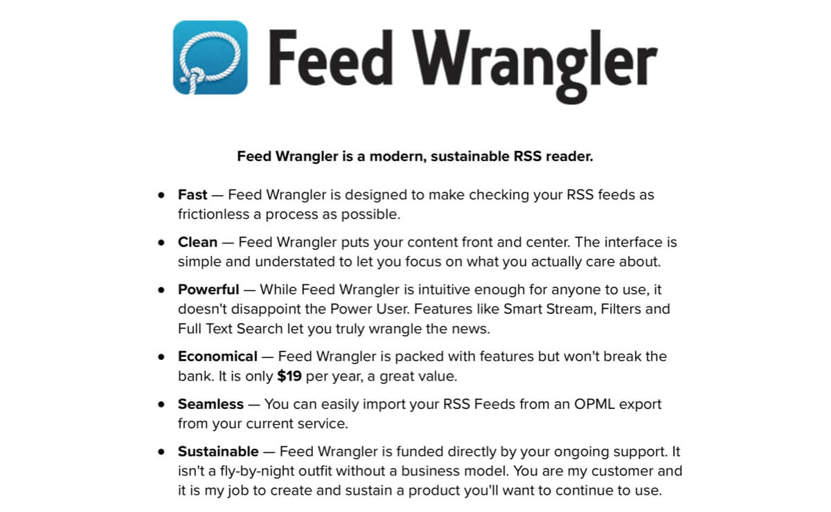 A screenshot of the Feed Wrangler homepage.