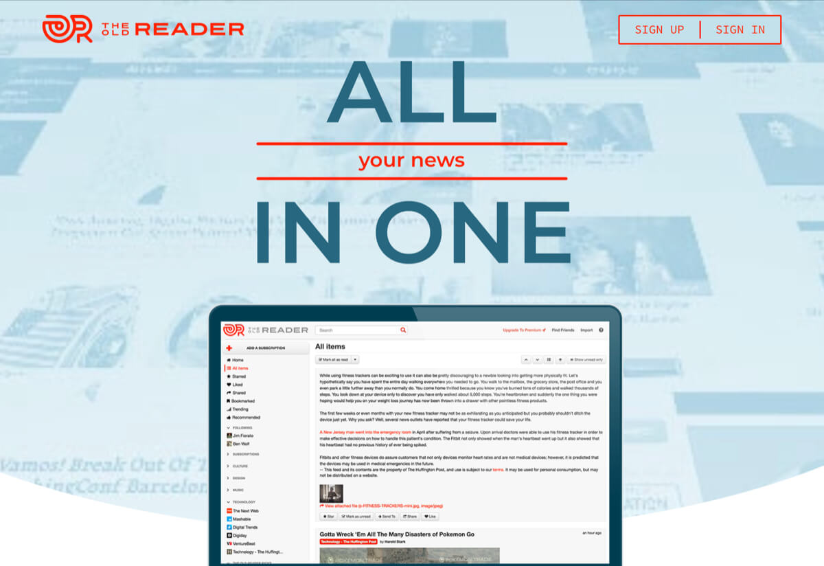 A screenshot of The Old Reader homepage.