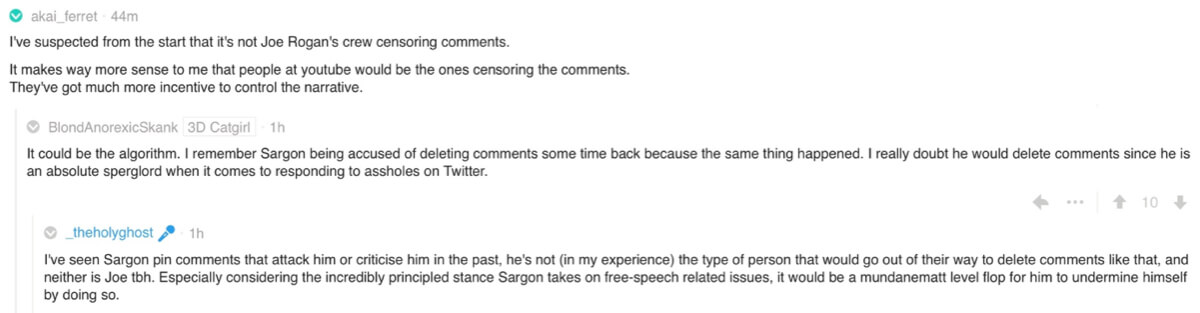 Reddit comments on the Joe Rogan/Jack Dorsey podcast fallout.