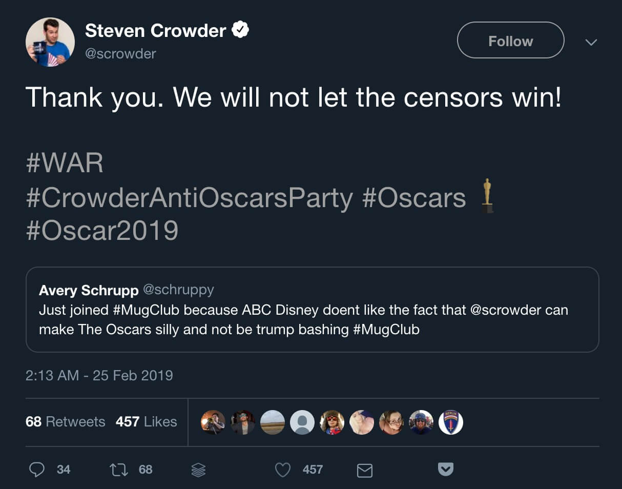 Steven Crowder's tweet vowing not to let the censors win.
