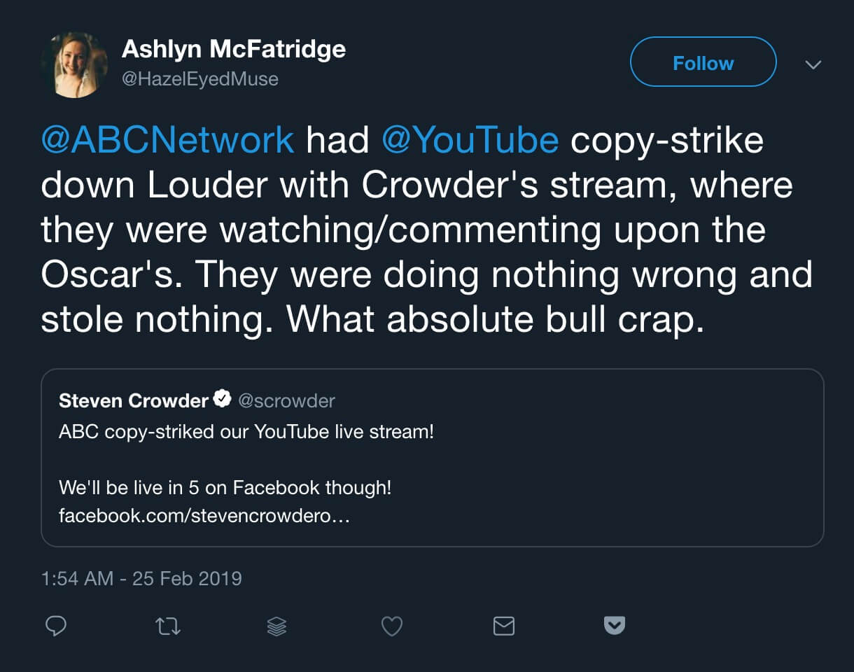 A Steven Crowder fan responding to his Anti-Oscars Party stream being taken down by YouTube.