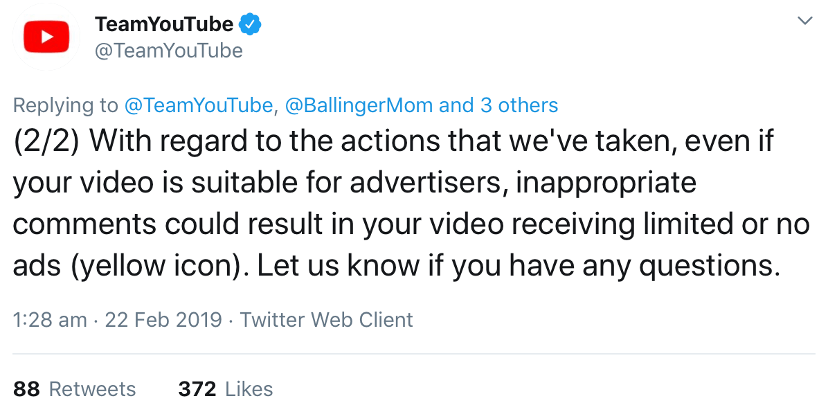 A tweet from @TeamYouTube saying that videos may be demonetized if viewers leave inappropriate comments.