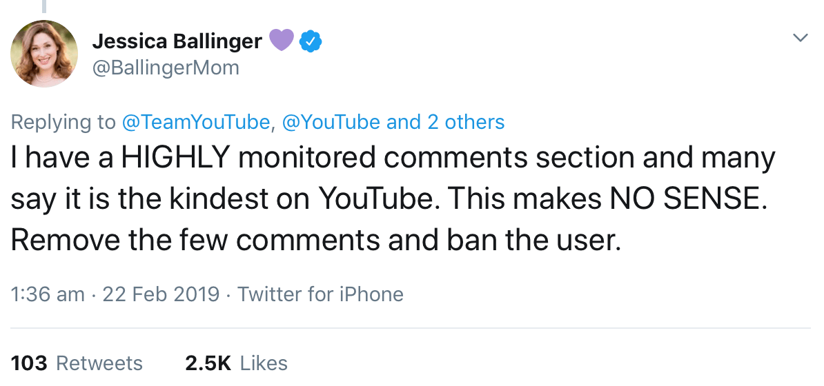 A tweet from Jessica Ballinger suggesting that YouTube should remove comments and ban the users that leave them instead of demonetizing creators.