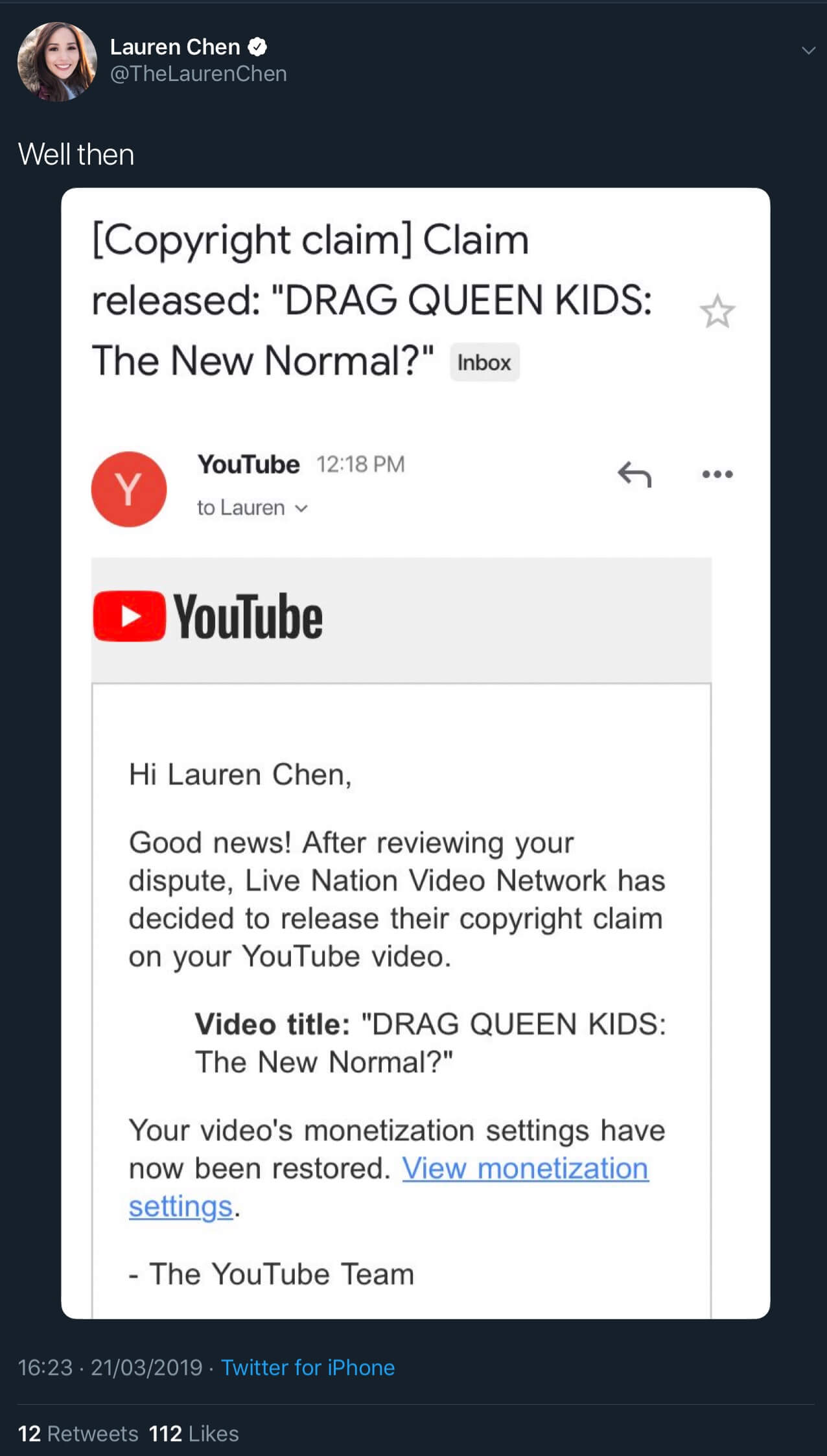 Alternative text: A tweet showing that the fake copyright claim against Lauren Chen's video has been released.