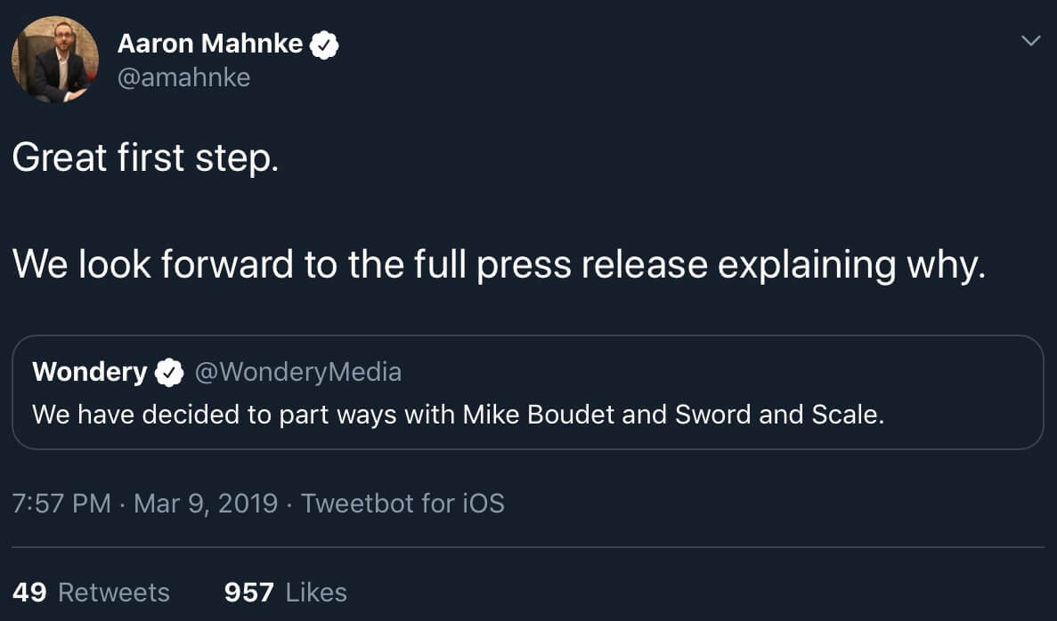 Aaron Mahnke retweeting a call for Boudet and Sword and Scale to be dropped by Wondery.