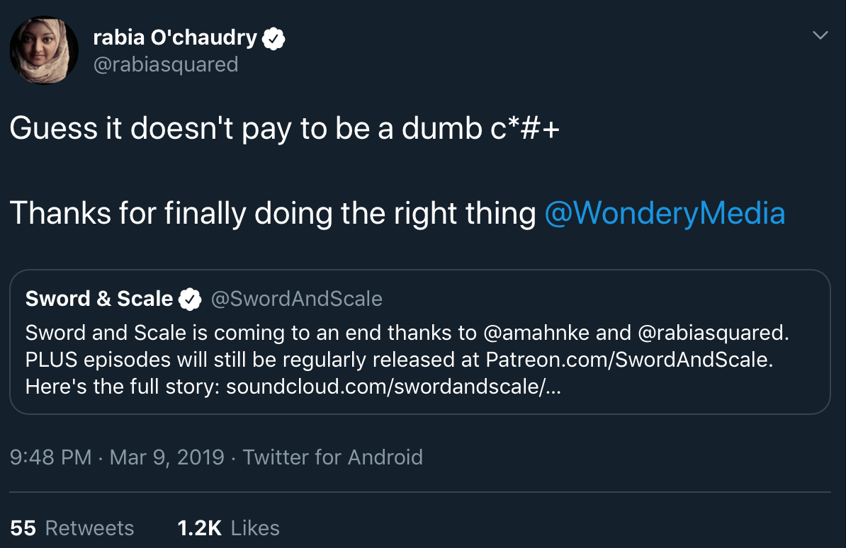 Rabia Chaudry retweeting a call for Boudet and Sword and Scale to be dropped by Wondery.