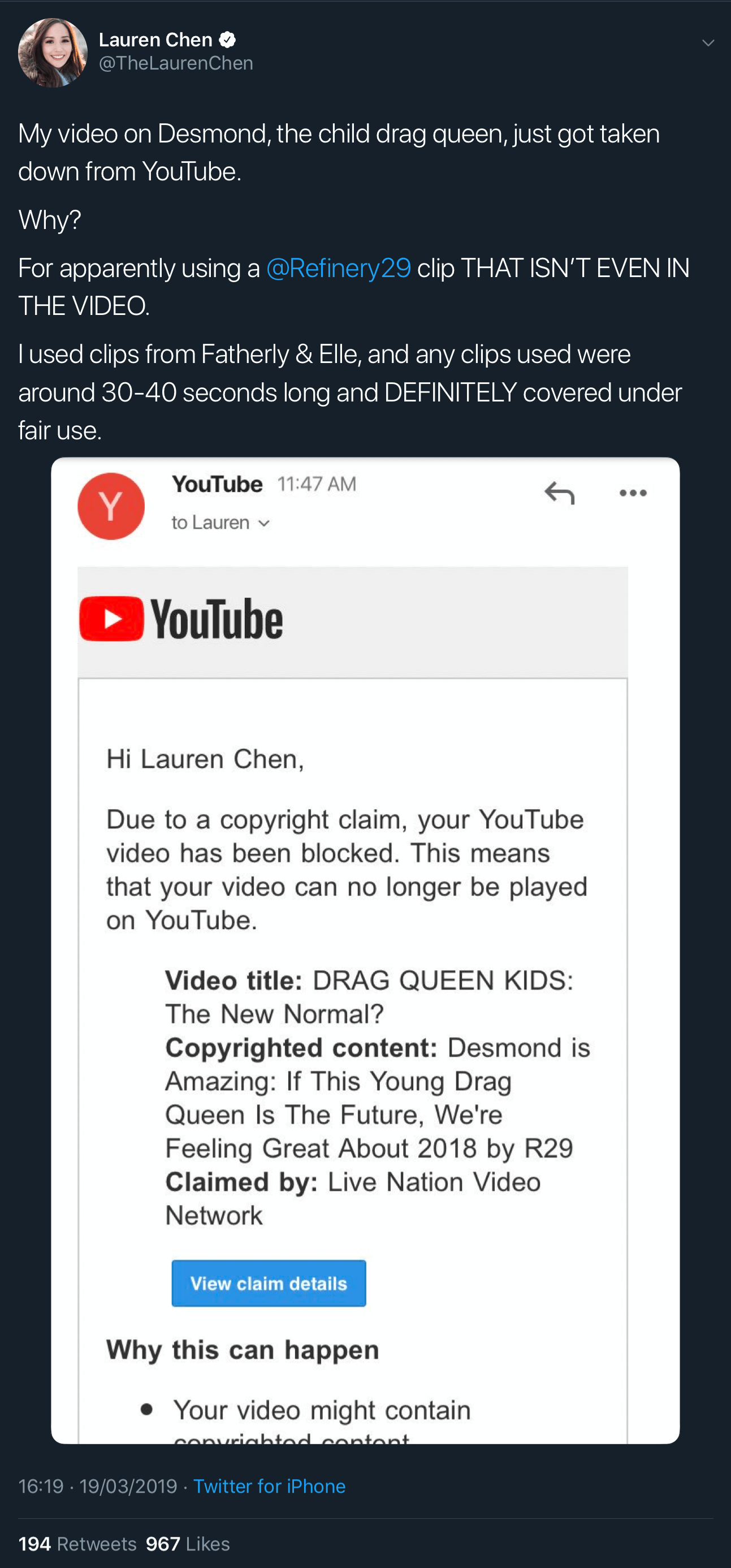 A tweet showing the fake YouTube copyright claim against Lauren Chen.
