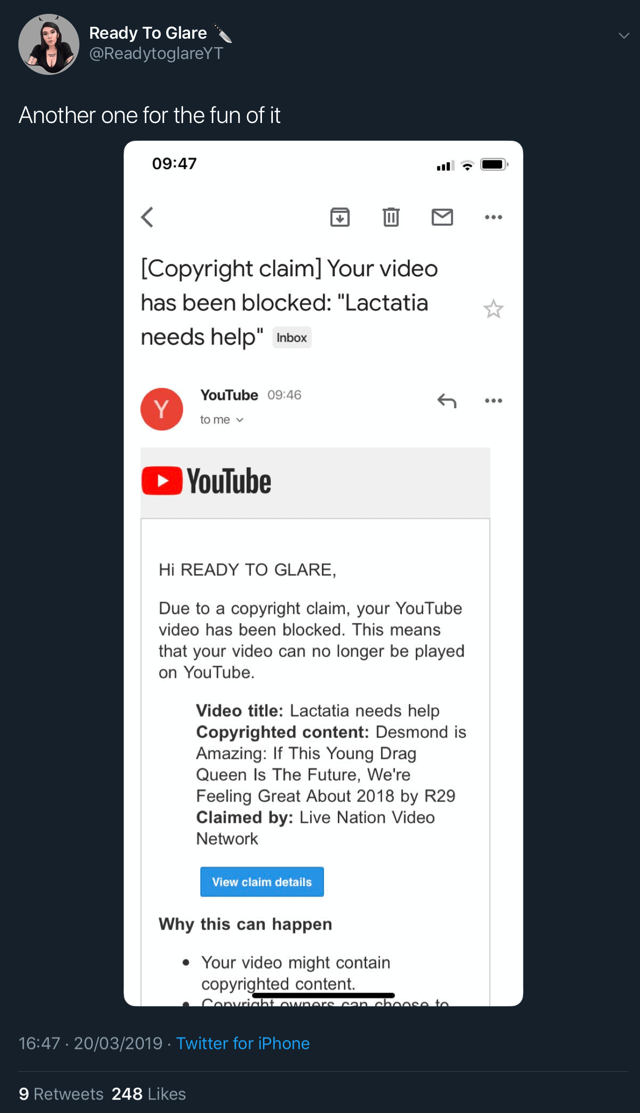 "A tweet showing the second fake YouTube copyright claim against Ready To Glare for her video titled ""Lactatia Needs Help."""