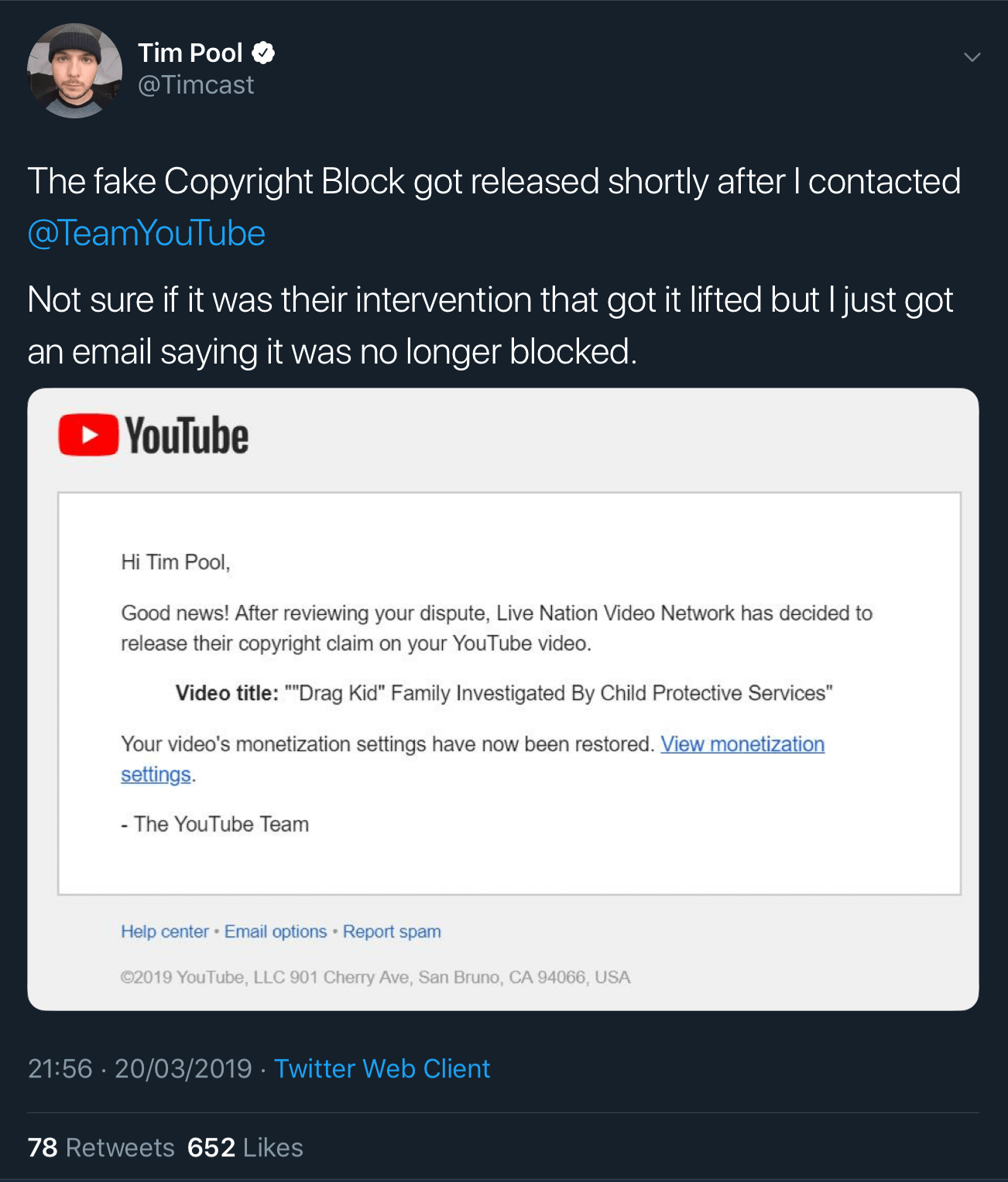 A tweet showing that the fake copyright claim against Tim Pool's video has been released