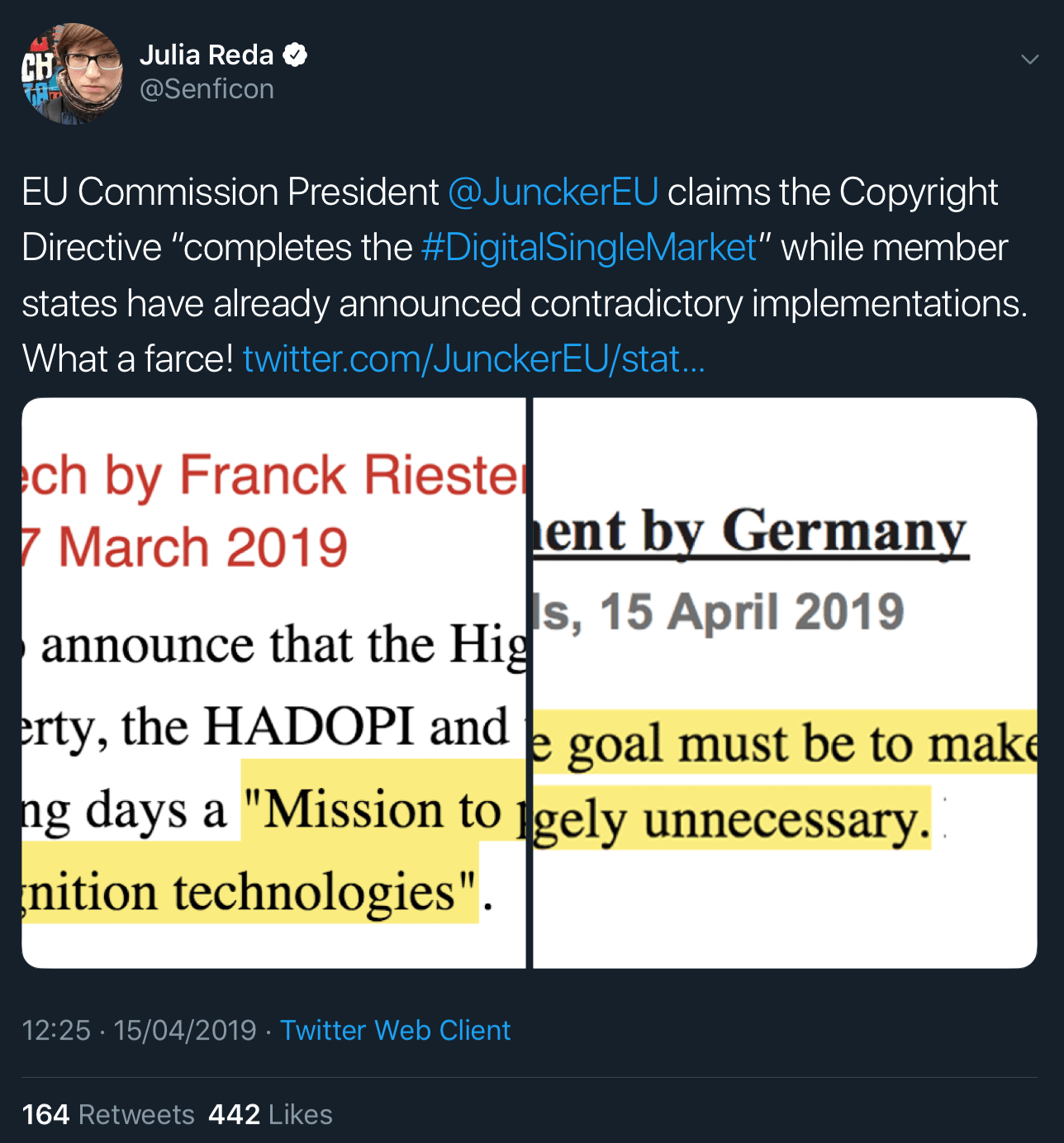 Julia Reda's tweet about France and Germany's conflicting statements on Article 13's requirement for online platforms to start using upload filters.