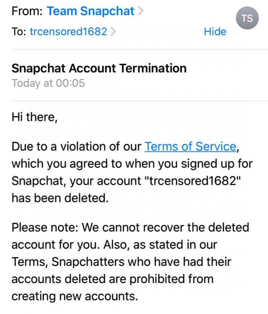 "The ""Snapchat Account Termination"" email that was sent to Tommy Robinson."