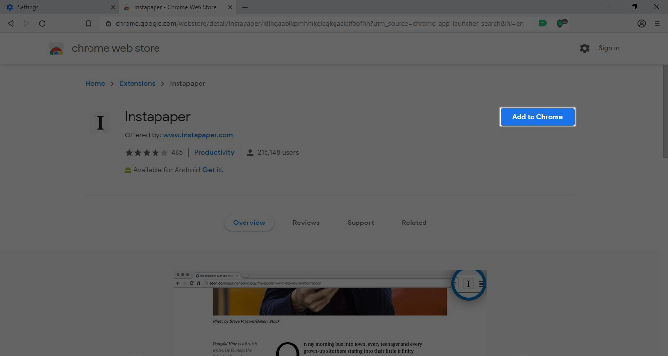 The Google Chrome Web Store Instapaper listing.