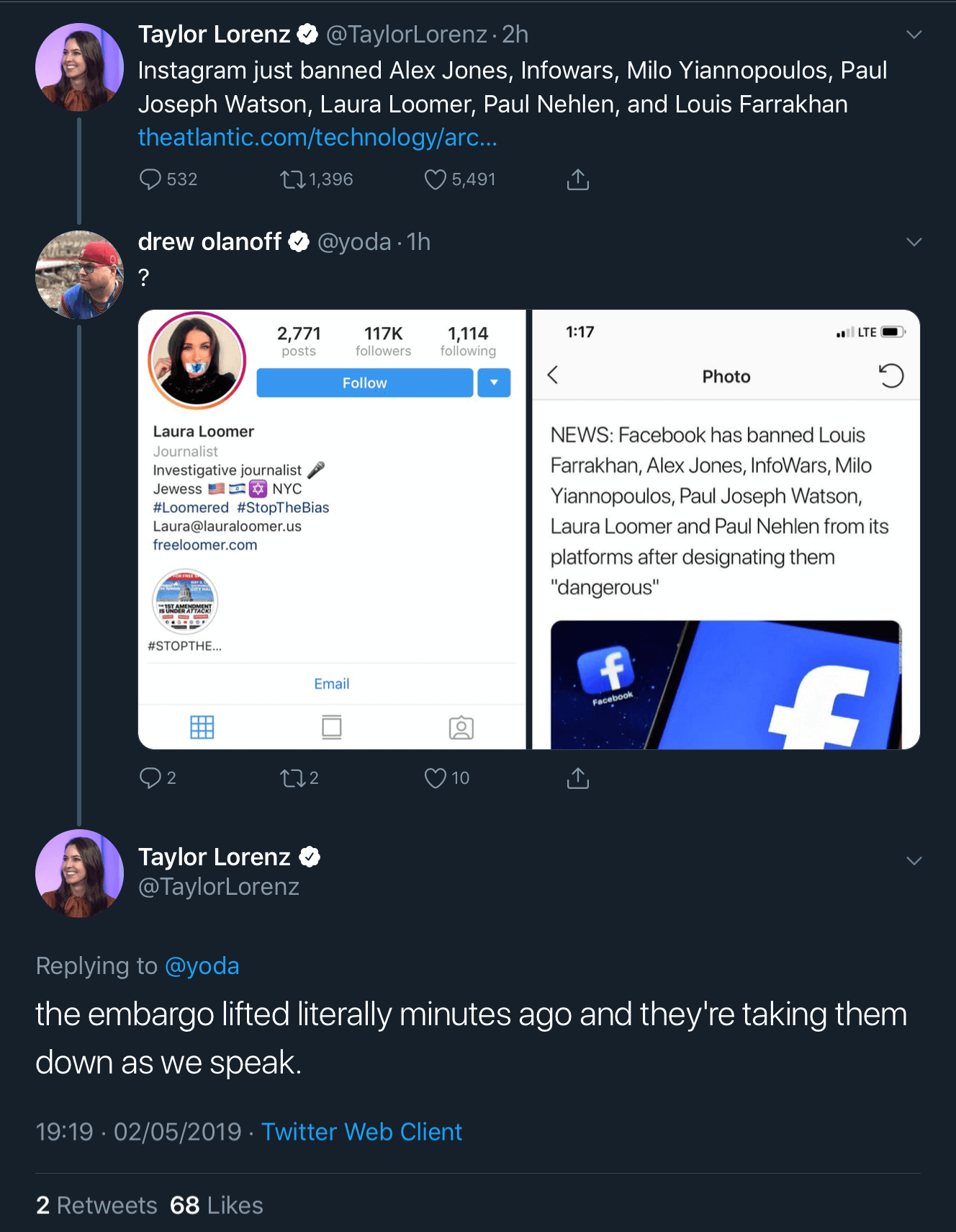 A tweet thread from The Atlantic's Taylor Lorenz showing that Loomer's Instagram account was still live when The Atlantic published its post saying she had been banned from Instagram