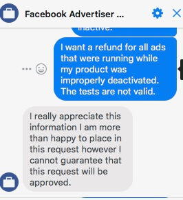 The message Facebook sent to Dorit Goikhman rejecting her refund request.