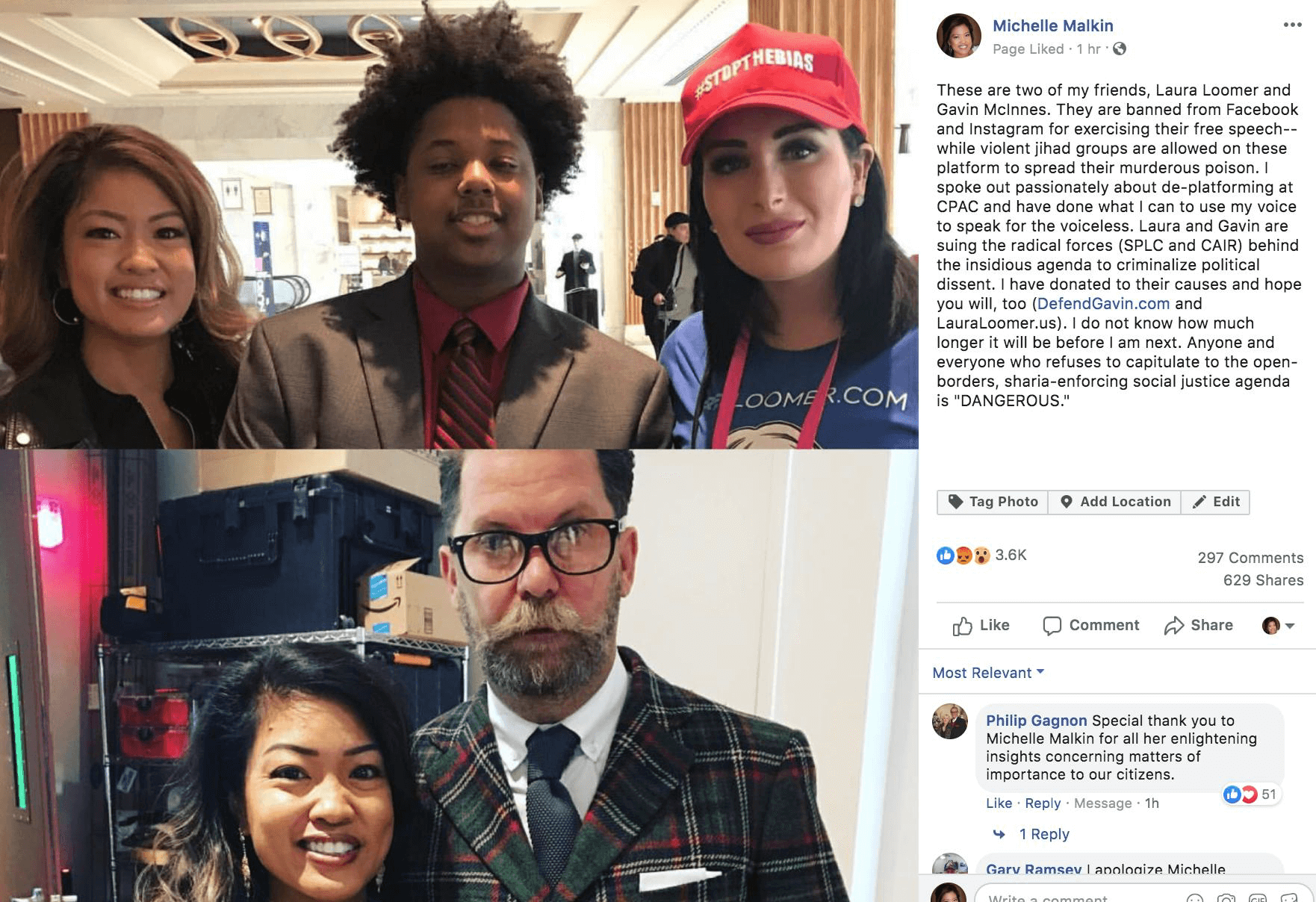 The photos of Laura Loomer and Gavin McInnes that Michelle Malkin posted to Facebook.