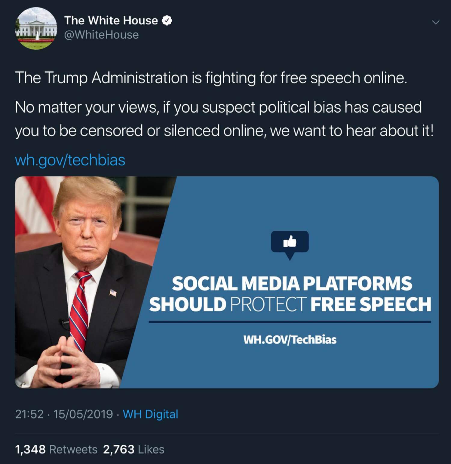 The White House and President Trump announcing the social media censorship survey.