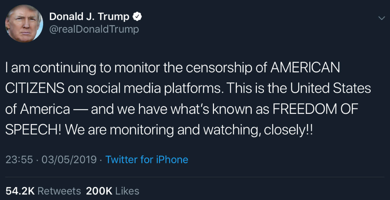 President Trump saying that he's monitoring the social media censorship situation closely.