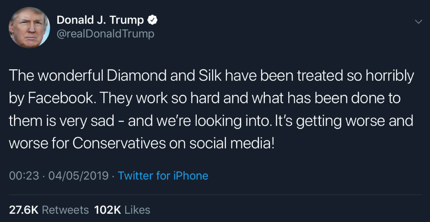 President Trump criticizing Facebook's treatment of Diamond and Silk.
