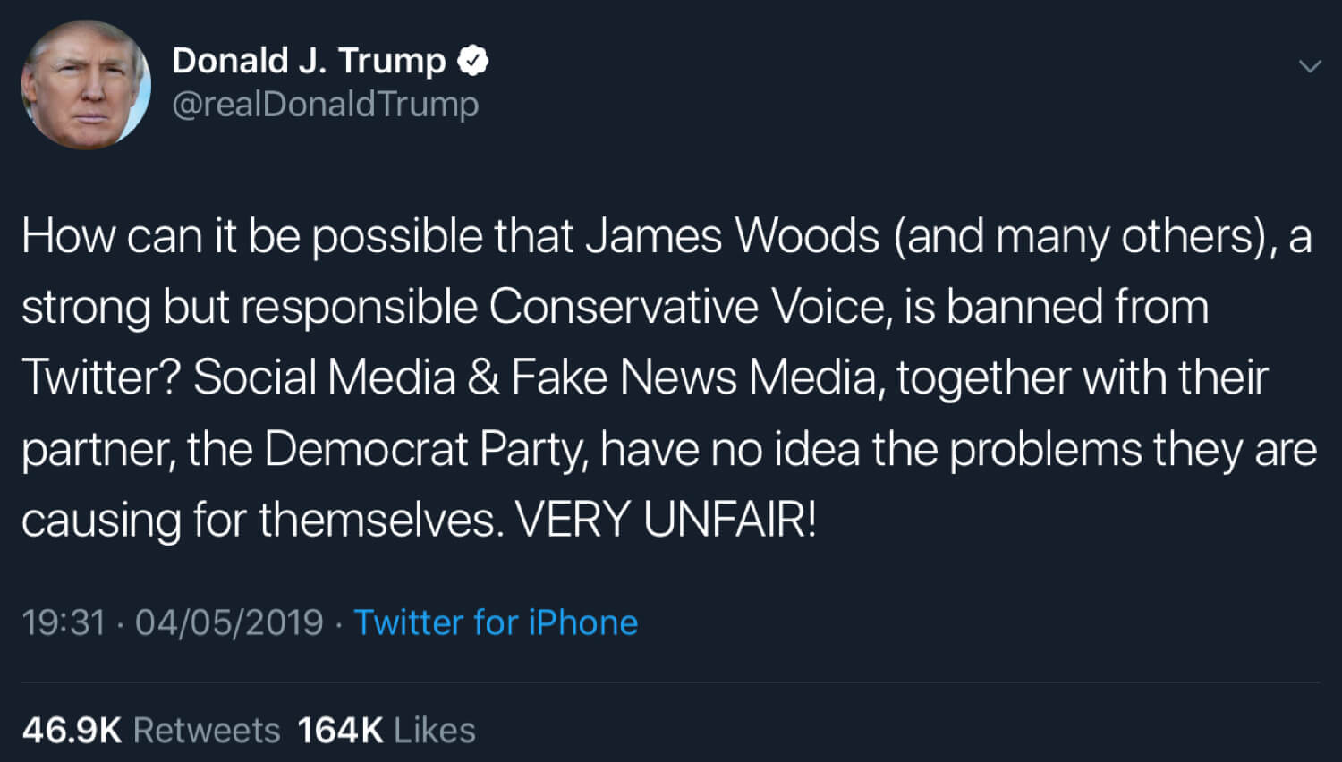 President Trump calling out the social media censorship of James Woods and others.