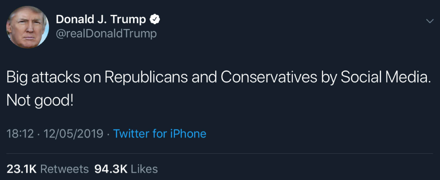 President Trump calling out social media's attacks on conservatives and Republicans.