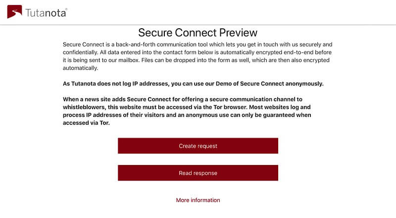 The Secure Connect demo page.