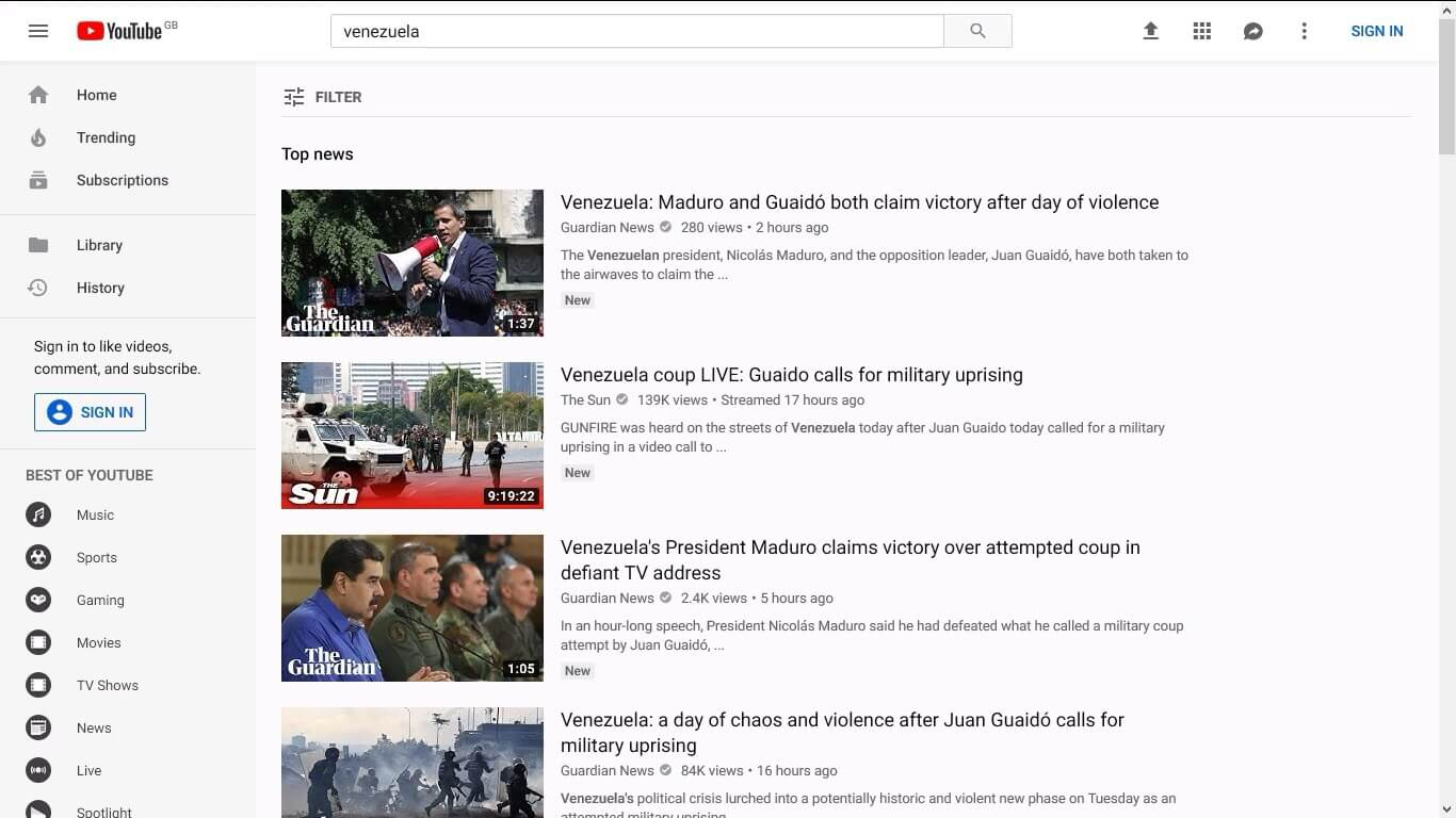 "The search results for Venezuela being dominated by ""authoritative news"" sources."