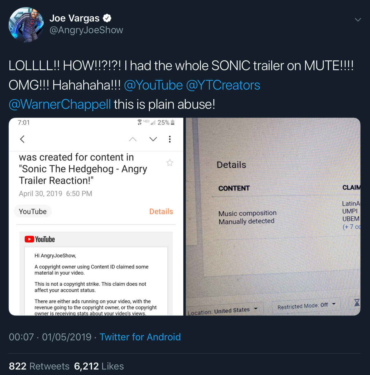 The fake copyright claim filed against Joe Vargas's Sonic the Hedgehog trailer reaction video.