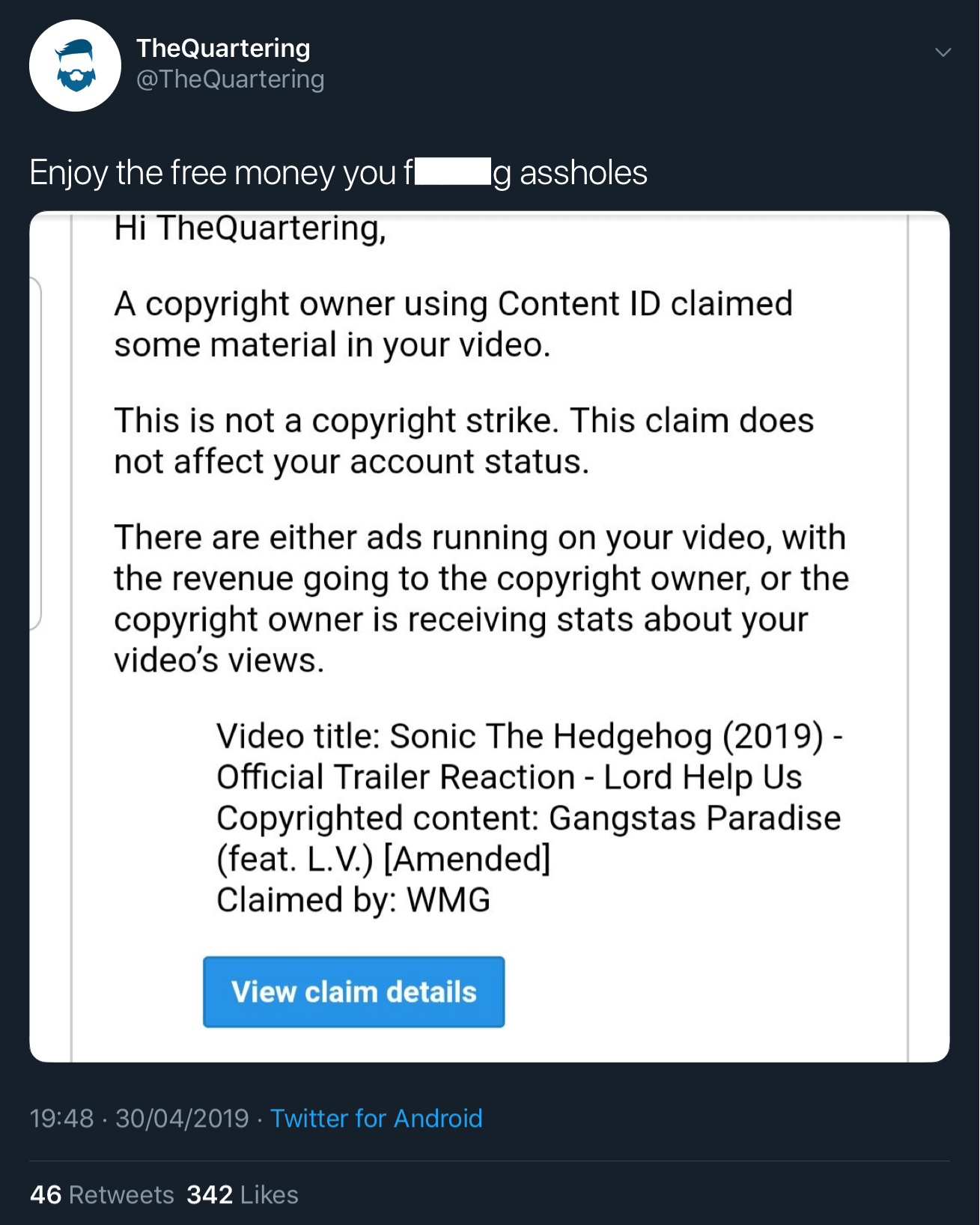 The fake copyright claim filed against The Quartering's Sonic the Hedgehog trailer reaction video.