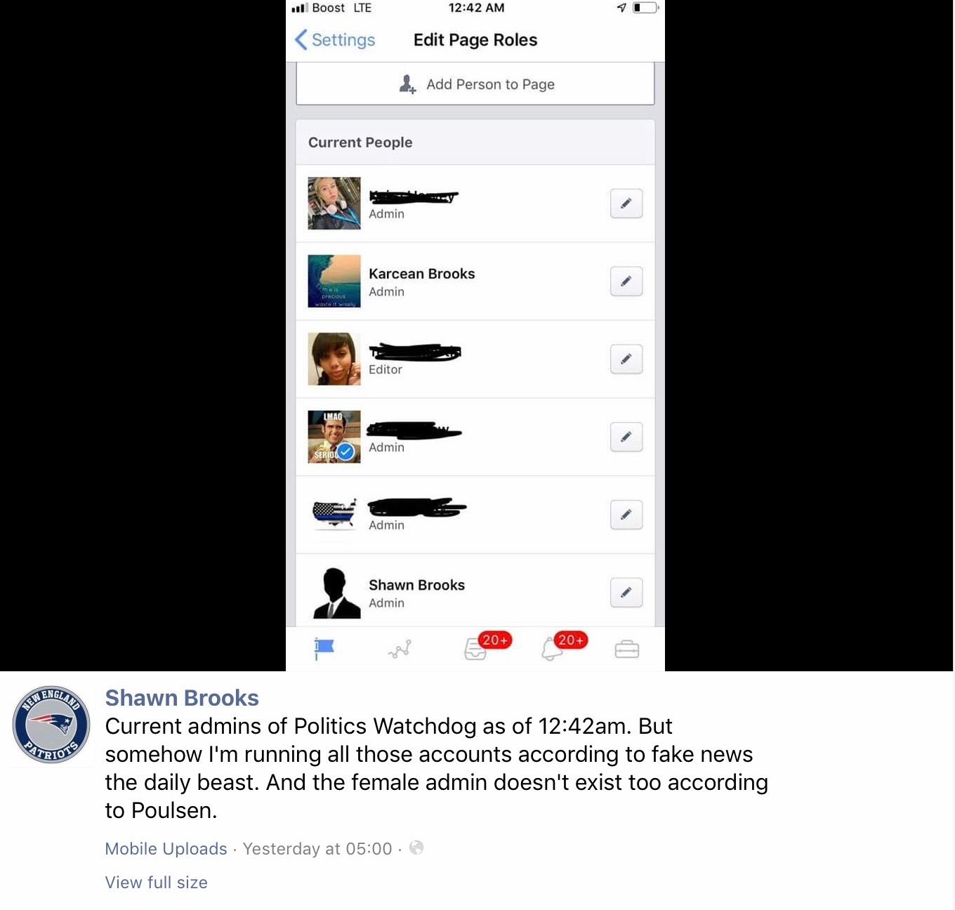 A screenshot from Shawn Brooks of what he claims to be the current admins of the Politics Watchdog page.