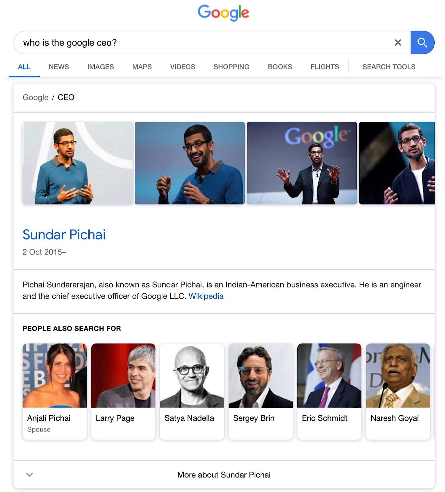 "The featured snippet for the Google Search query ""who is the google ceo?"""