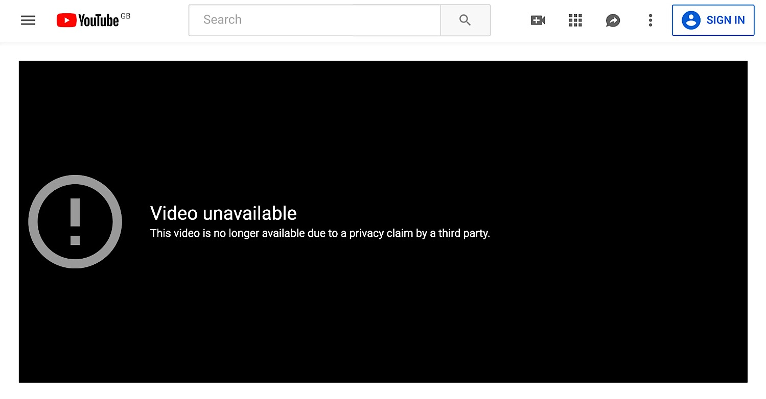 The message on Tim Pool's YouTube video saying that it's been taken down because of a privacy complaint.