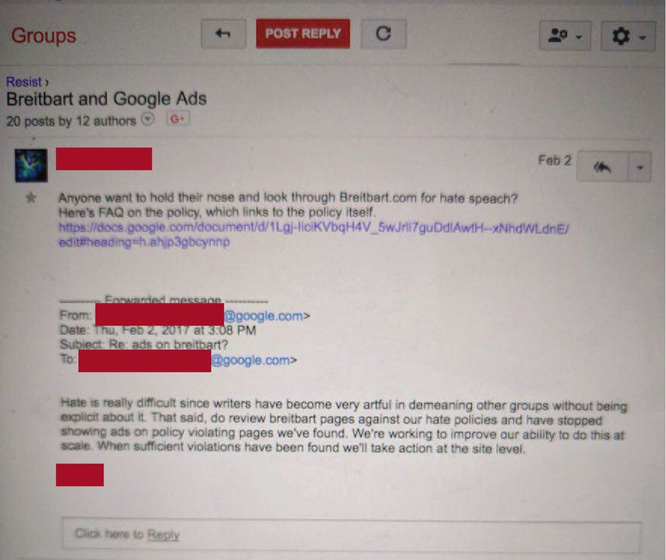 "A leaked Google email discussing looking through Breitbart for ""hate speech."""