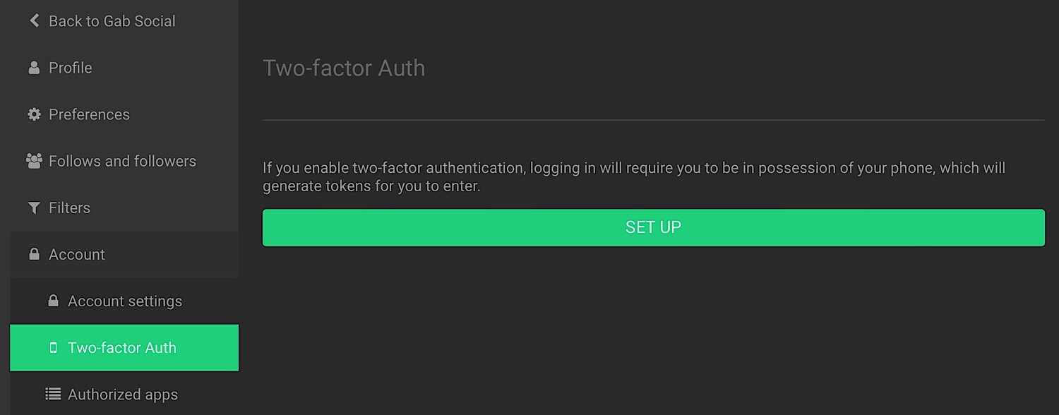 "The ""Two-factor Auth"" setup menu."