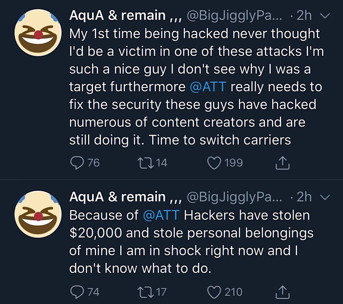 The tweets that appear to have been sent by the real BigJigglyPanda while his Twitter account was compromised.