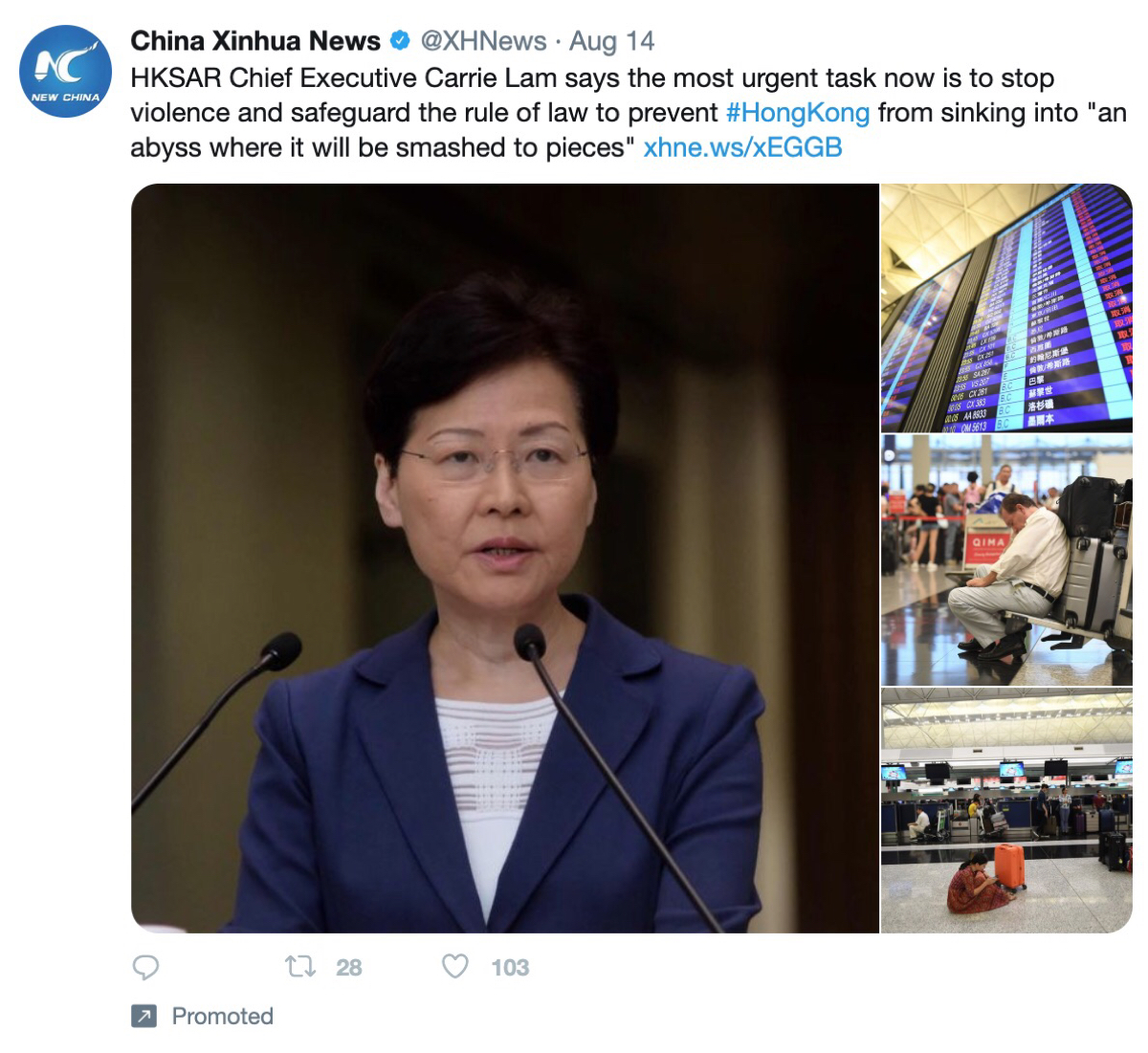 Promoted tweets from China Xinhua News featured in Twitter's ad transparency tool.