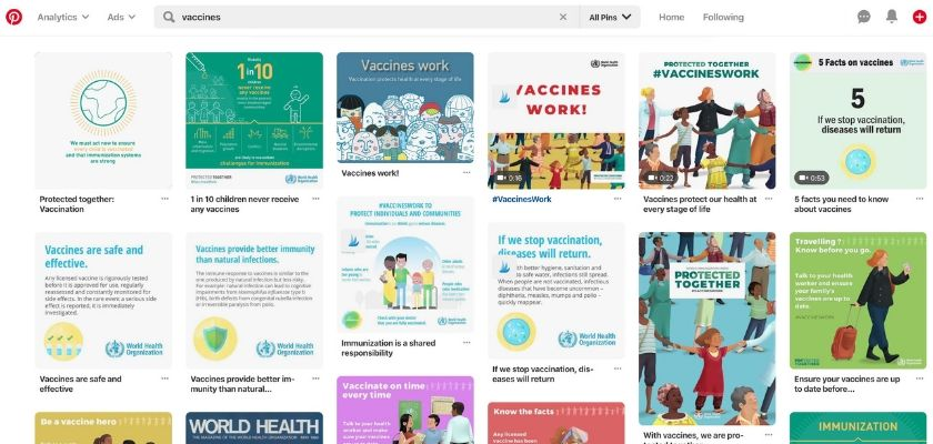"""Pinterest alters vaccine search results to say """"Vaccines"""