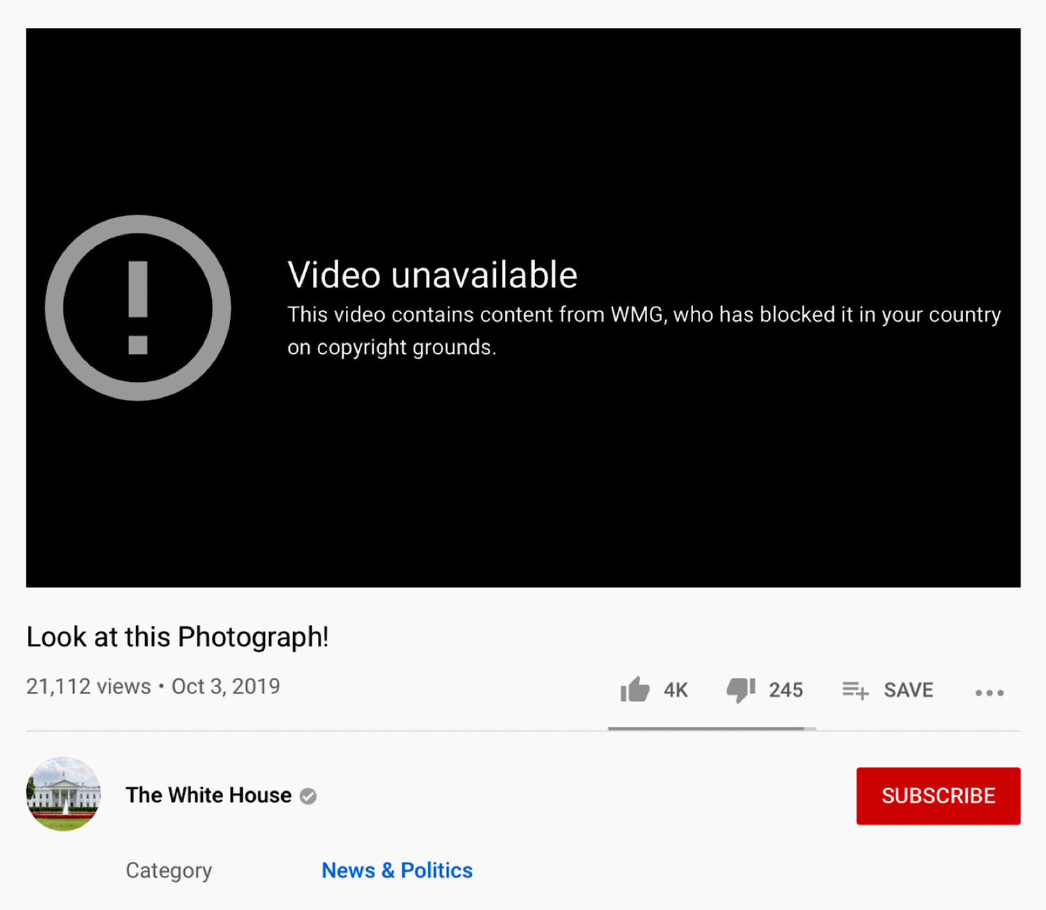 "President Trump's ""Look at this Photograph!"" YouTube video which has been copyright blocked."