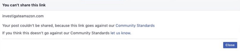 The message that appears when Facebook users attempt to share Investigate Amazon.