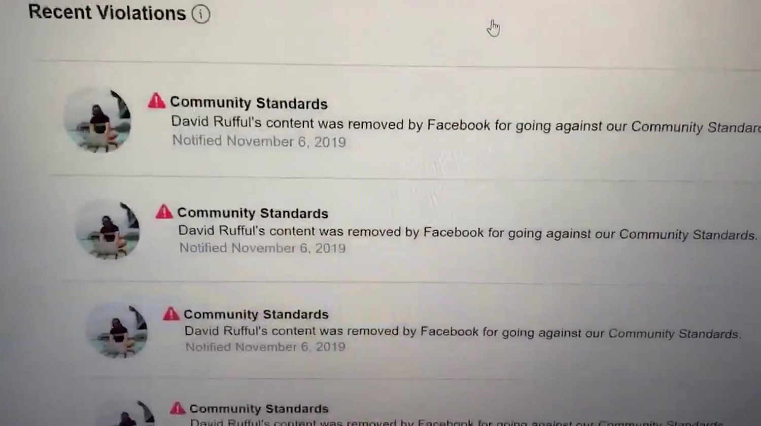 The community standards violation warnings David J. Harris Jr. received on his page.