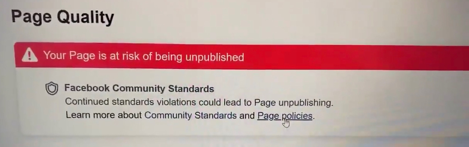 """The """"Your Page is at risk of being unpublished"""" warning David J. Harris Jr. received on his page."""