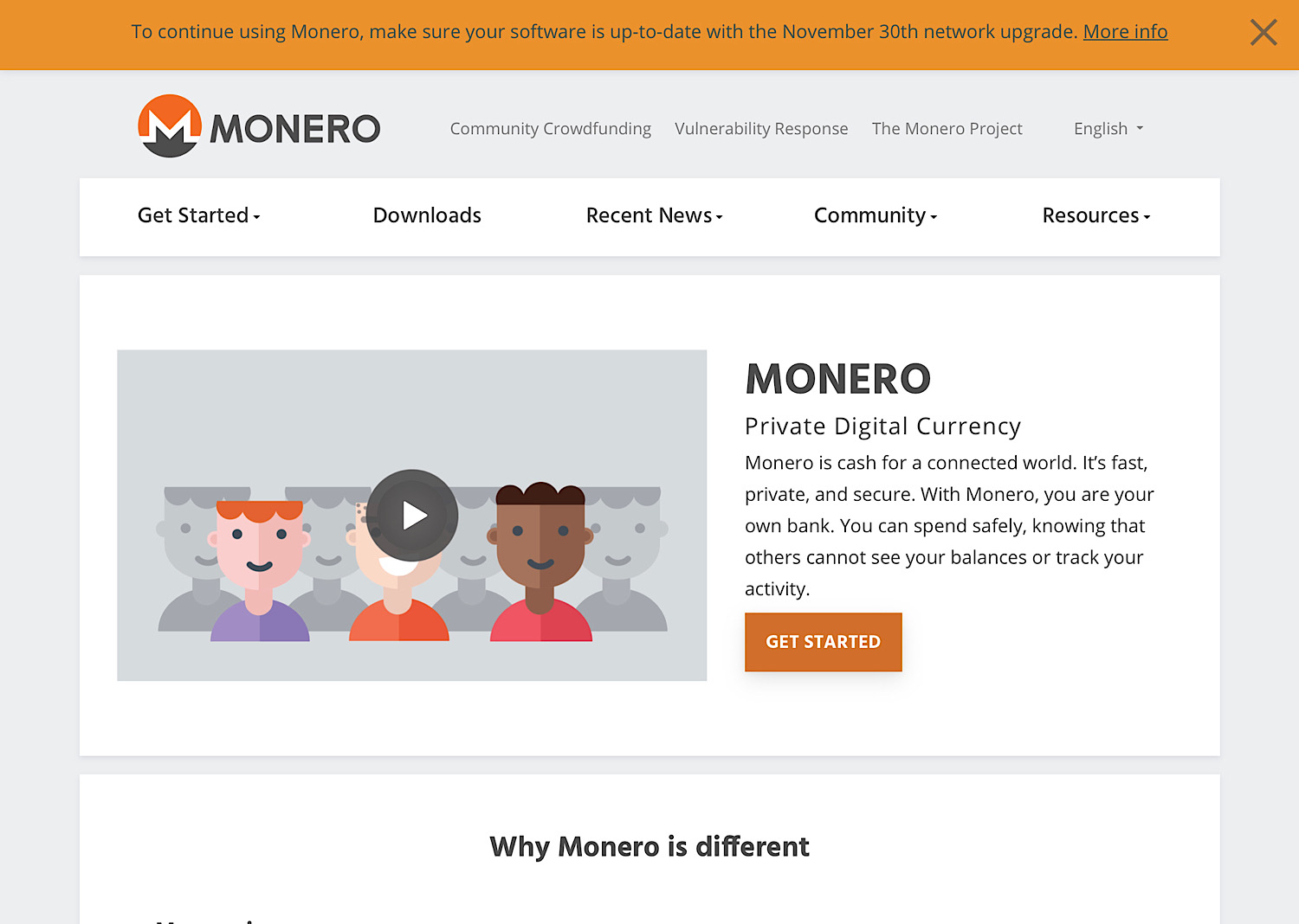 The Monero home page.