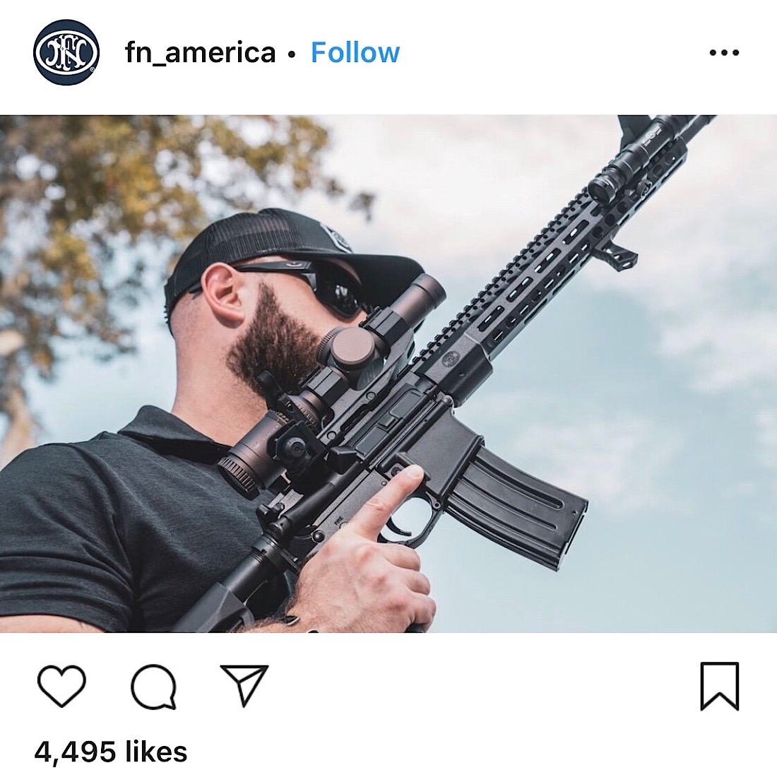 An Instagram post from firearms company FN America (Instagram - @fn_america)